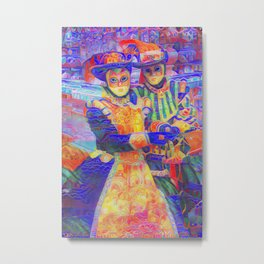 Venetian Couple Gingerbread Style Metal Print