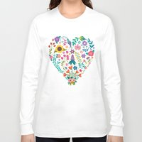 agnes Long Sleeve T-shirts featuring Floral Heart by Anna Deegan