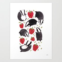 Badgers and Strawberries Art Print