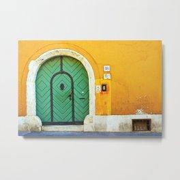 Green Door on Yellow Wall in Budapest Photo Metal Print