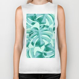 Tropical Monstera Leaves Dream #4 #tropical #decor #art #society6 Biker Tank