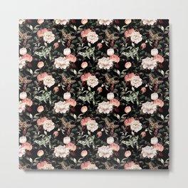Floral and Flutter Pattern Metal Print
