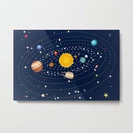 Cartoon solar system and planets around sun Metal Print