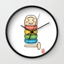 Daruma Otoshi [Special Lucky Toy Box] Wall Clock