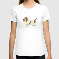 the hound T-shirts featuring Basset Hound by Rebecca Mcmillan