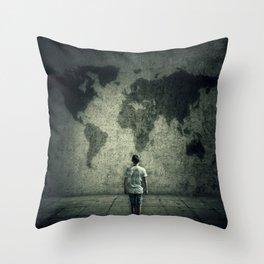 searching a destination Throw Pillow