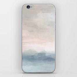 Blush Pink Mint Sky Baby Blue Abstract Ocean Sky Sunrise Wall Art, Water Clouds Painting iPhone Skin