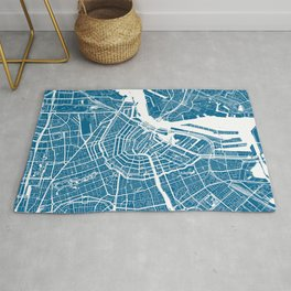Blue City Map of Amsterdam, Netherlands Rug