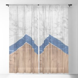 Stone Arrow Pattern - White & Blue Marble & Wood #436 Sheer Curtain