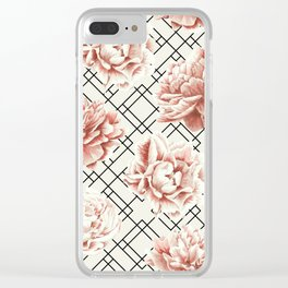 Simply Mod Diamond Roses in Cream and Black Clear iPhone Case