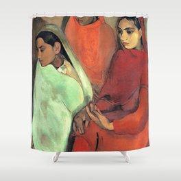 12,000pixel-500dpi - Amrita Sher-Gil - Group of Three Girls - Digital Remastered Edition Shower Curtain