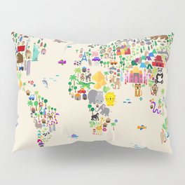 Animal Map of the World Pillow Sham