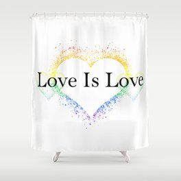 Splatter Paint Triple Hearts Love is Love Pride Rainbow Minimalist Art Shower Curtain