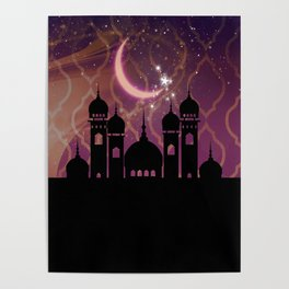 Purple & Gold Arabian Nights Half Moon Poster