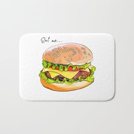 Illustration of a burger from fast food. Bath Mat