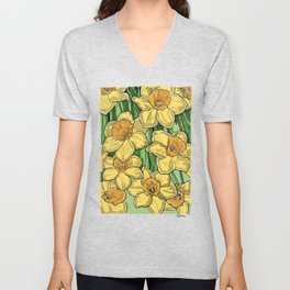 Yellow Daffodils line drawing Unisex V-Neck