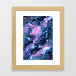 Twinkling Pink Watercolor Galaxy Framed Art Print
