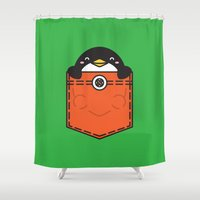 pocket fuel Shower Curtains featuring Pocket Penguin by Steven Toang