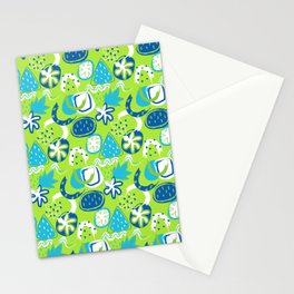 Brushstroke Abstracts - blue and green Stationery Cards