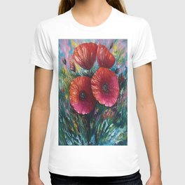 Red Poppies Oil Painting with a Palette Knife T-shirt