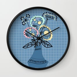 Quilling, flowers in vase Wall Clock