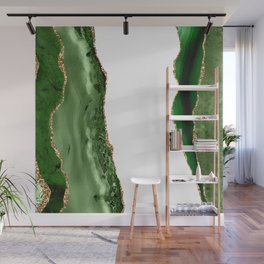 Beautiful Emerald And Gold Marble Design Wall Mural