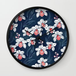 Orchid garden in white and peach on navy blue Wall Clock