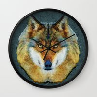 polygon Wall Clocks featuring polygon wolf by Ancello