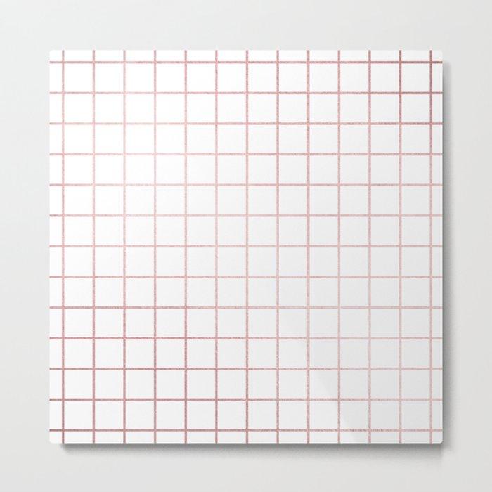 Simply Grid in Rose Gold Sunset Metal Print