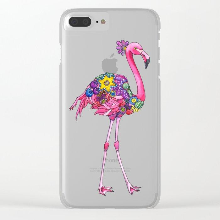 Fancy Felicity Flamingo Clear iPhone Case