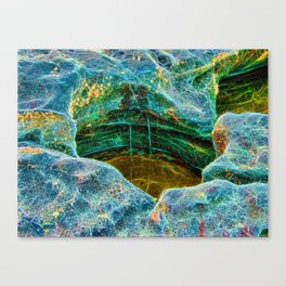 Abstract rocks with barnacles and rock pool Canvas Print
