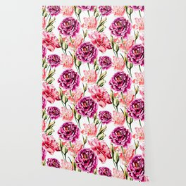 Peonies and Eustomas - flower pattern no2 Wallpaper