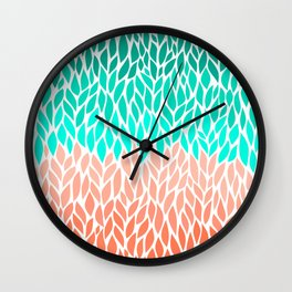 Leaves Teal and Coral Ombre Wall Clock