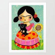 Frida with Black Pug dog by TASCHA Art Print