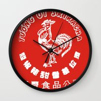 sriracha Wall Clocks featuring Sriracha  by www.bubthezombie.com