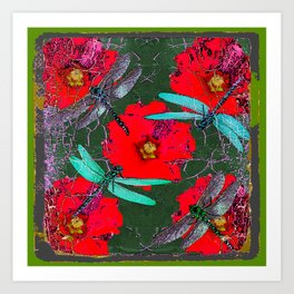ANTIQUE CRACKLED  BLUE DRAGONFLIES ON RED HOLLYHOCK FLOWERS Art Print