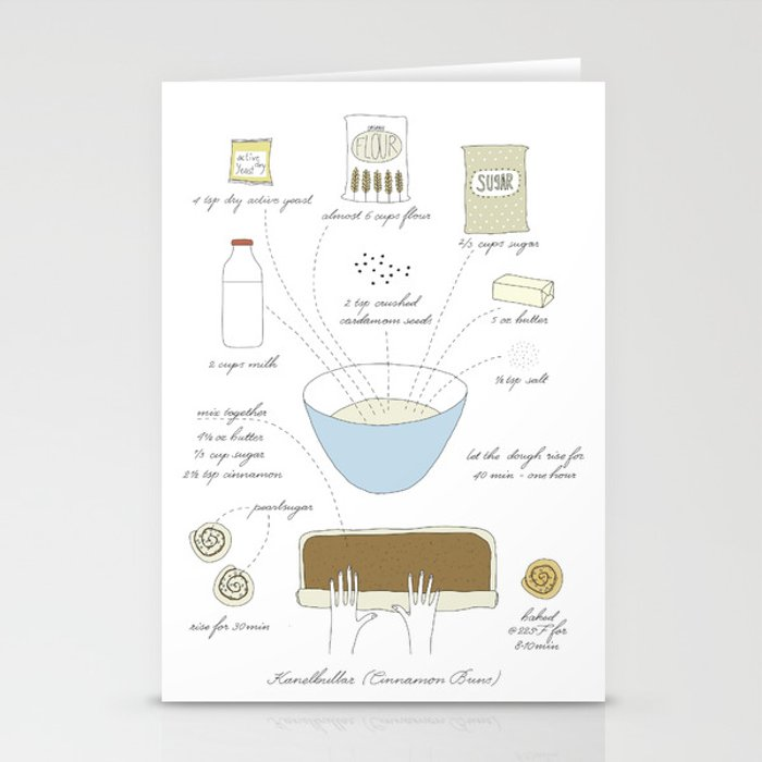 Cinnamon Buns - Illustrated Recipe Stationery Cards