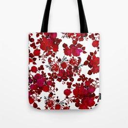 Botanical romantic red black elegant roses floral Tote Bag
