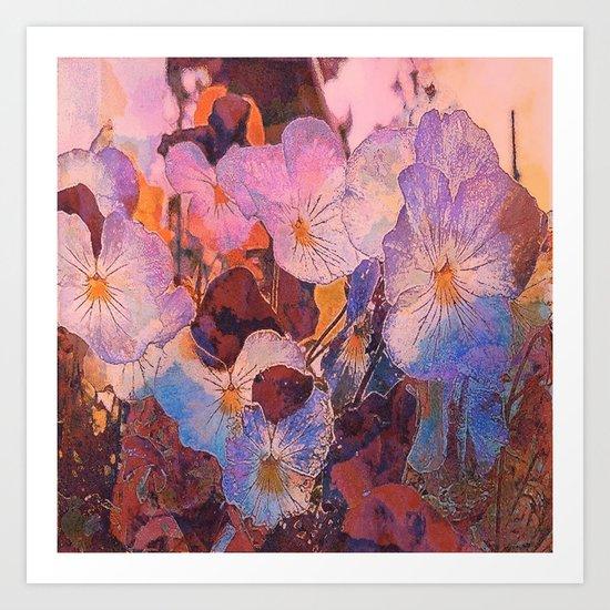 Pansies at Twilight Art Print
