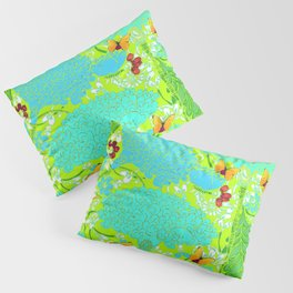 GOLD BUTTERFLIES BLUE-LIME FLORAL ART Pillow Sham