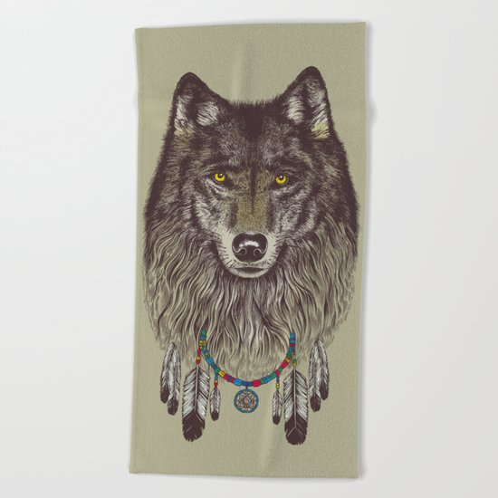 Wind Catcher Wolf Beach Towel
