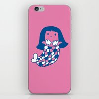 the little mermaid iPhone & iPod Skins featuring Little mermaid by tee and toast