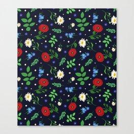 Swedish Folk Flowers Canvas Print