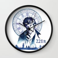 sherlock Wall Clocks featuring Sherlock by Jackie Sullivan