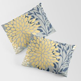 Festive, Floral Prints and Leaves, Yellow, Gray, Navy Blue, Teal Pillow Sham