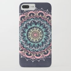 Pink, Cream & Soft Turquoise Glow Medallion on Navy iPhone 7 Plus Slim Case