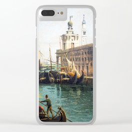 Bernardo Bellotto The Grand Canal from the Campo Santa Maria del Giglio with the Salute Clear iPhone Case