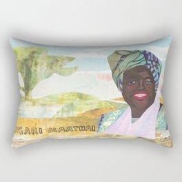 Wangari Maathai - Badass Woman Portrait Rectangular Pillow