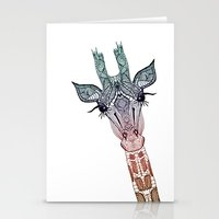 sad Stationery Cards featuring GiRAFFE by Monika Strigel
