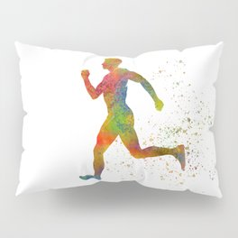 Athletics runner in watercolor Pillow Sham